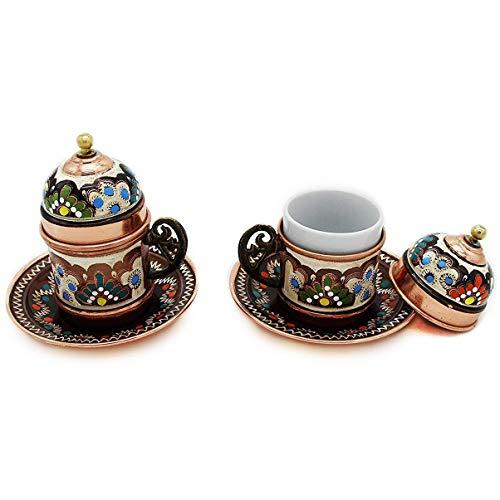 Türkische Kaffeetassen mit Untertasse und Deckel aus Kupfer - 2er Set Premium Edition mehrfarbig