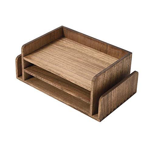 Bandeja de madera para documentos de escritorio de oficina de 3 niveles, organizador de correo, bandeja de madera para carpetas, correo, papelería, accesorios de escritorio