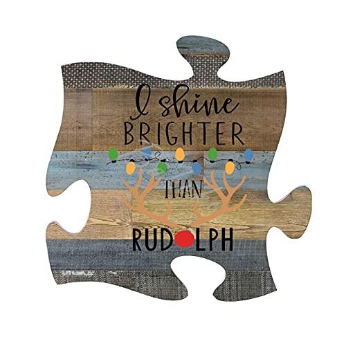 BAKOKO Letrero de pared divertido con texto en inglés «I Shine Brighter Than Rudolph» para decoración rústica del hogar, decoración de pared, 30 x 30 cm