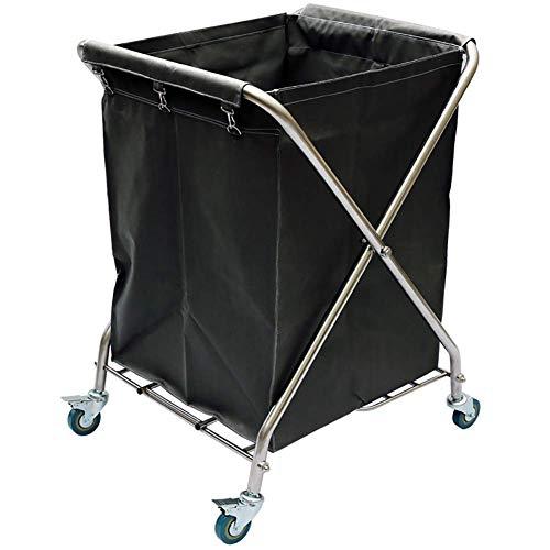 HWJL Fahrbare Lagerwagen mit Cart Wagenrad Falzmaschine mit Radbremse, Falzwagen Sortiermaschine, Wagen Sammlung von Hotels,Schwarz