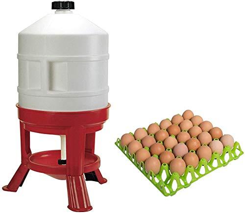Novital Abbeveratoio A Serbatoio in Plastica, 30L, Bianco/Rosso/MOTISI ZOOTECNICI