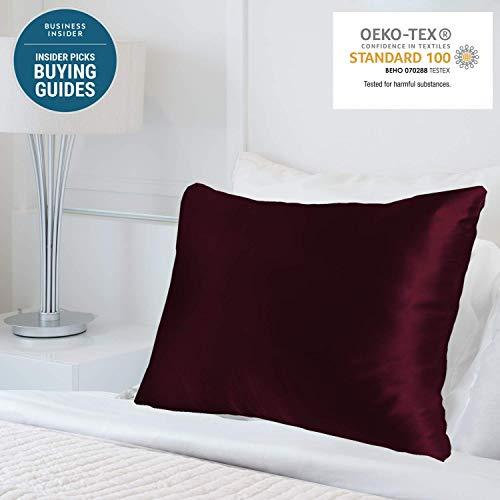 MYK Kissenbezug, 100% Reine natürliche Maulbeerseide, 25 Momme, beidseitig für Haar- und Hautpflege Standard One Side burgunderfarben
