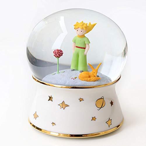 Caja de música Sky Little Prince Caja de música creativa con base giratoria de cristal luminosa con base giratoria de porcelana fría y caja musical de regalo de cumpleaños (color a blanco)