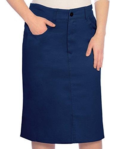 Kosher Casual Women's Modest Knee Length Lightweight Cotton Stretch Twill Pencil Skirt XL Navy