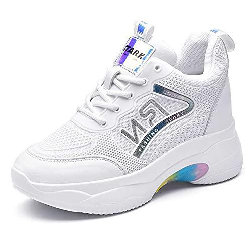 HLDJ Zapatillas De Deporte para Mujer Zapatillas Deporte Cuña Plataforma Tacón Alto Ocultas Zapatos Deportivos Caminar Cordones,Blanco,EU35