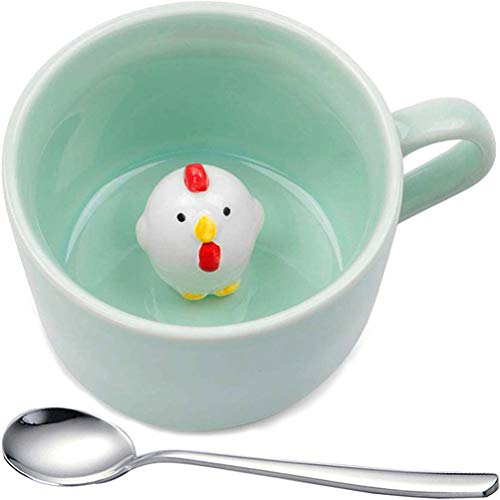 Chick 2Pcs Ceramic Cup 240ml, Hidden Animal Inside Water Mugs - Best Christmas, Xmas or Birthday Gifts for Kids Teacup,with Spoon