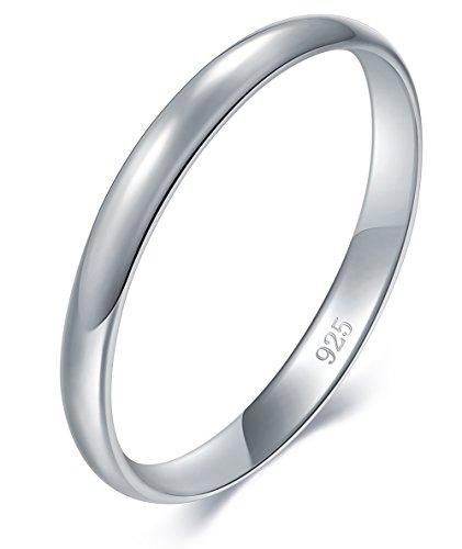 BORUO Damenring Stapelring Vorsteckring Silberring klassisch schlicht mattiert Partnerringe in 925 Sterling Silber 2mm Ringe für Damen & Herren Größe 65 (20.7mm)