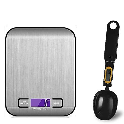 Báscula de cocina digital 5 kg / 10 kg Báscula electrónica multifuncional de acero inoxidable Pantalla LCD Báscula de equilibrio Báscula para hornear -Balck_with_Black_10Kg