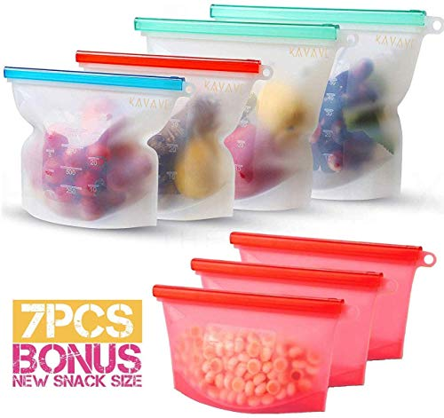 Silicone Bags Reusable Silicone Food Bag Kavave Reusable Sandwich Bags Reusable Ziplock Bags Silicone Storage Bags Silicon Containers Plastic Conteiner Freezer Gallon Size Zip Snack Lunch Sous Vide