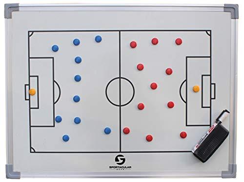Sportacular Gear Taktiktafel Fußball inkl. Zubehör und Tasche | Coachboard Professional | Stabiler Alu-Rahmen (90x60cm)
