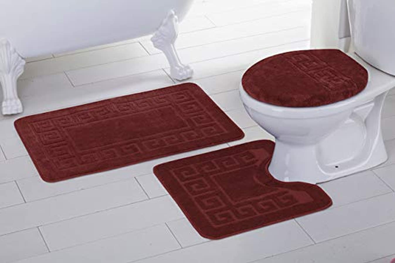 Fancy Linen 3pc Non-Slip Bath Mat Set with Chain Pattern Solid Burgundy Bathroom U-Shaped Contour Rug, Mat and Toilet Lid Cover New