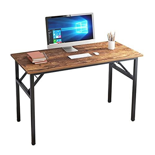 sogesfurniture Schreibtisch Klapptisch 120x60cm Computertisch Büromöbel PC Tisch, Stabil Bürotisch Konferenztisch Klappbar für Zuhause, Büro, Picknick, Garten, Braun&Schwarz BHEU-AC5FB-120