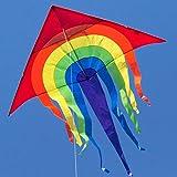 CIM Großer Kinder-Drachen - SUPER-DRACHEN Rainbow Delta XL – Einleiner Flugdrachen für Kinder ab 6 Jahren - 150x166cm - inklusiv 80m Drachenschnur und...