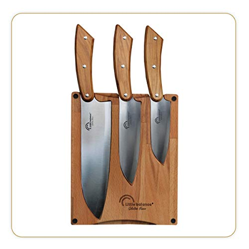 Little balance 8424 - Planche 3 couteaux Santoku - Fabrication 100% française - Set 3 couteaux Santoku, Lame Inox Esprit de Thiers - Manche Bois d'Olivier - Planche à découper