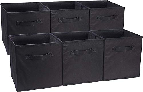 Amazon Basics Collapsible Fabric Storage Cubes Organizer with Handles, Black - Pack of 6