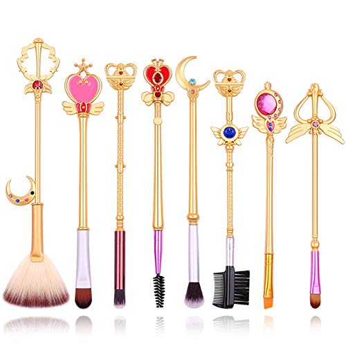 HZD 8Pcs/Set Anime Sailor Moon Beauty Gold Makeup Set/Cosmetic Brush Star Sailor Powder Eyeshadow Lip Brush Woman Gift,Deep Gold