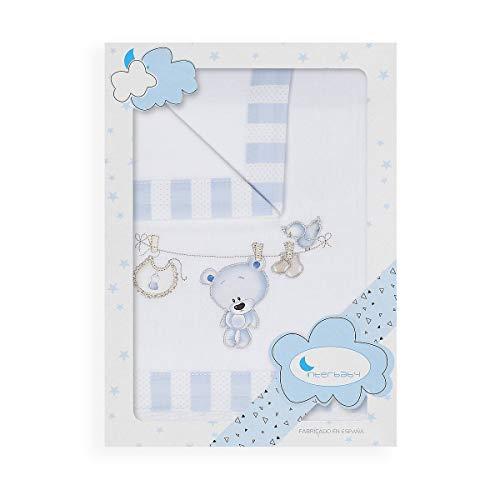 Sábanas Minicuna Franela Tendedero Oso Blanco Azul