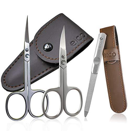 Eico Profi Maniküre Set - Extra scharfe Premium Nagelschere, Hautschere und Nagelfeile inkl. 3 Etuis - Für Finger- und Zehennägel - auch Linkshänder geeignet