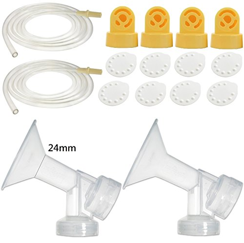 Nenesupply Compatible Pump Parts for Medela Pump in Style Breastpump 24mm Breastshield Valve Membrane Tubing Not Original Medela Pump Parts Replace Medela Pumpinstyle Parts Replace Medela Accessories