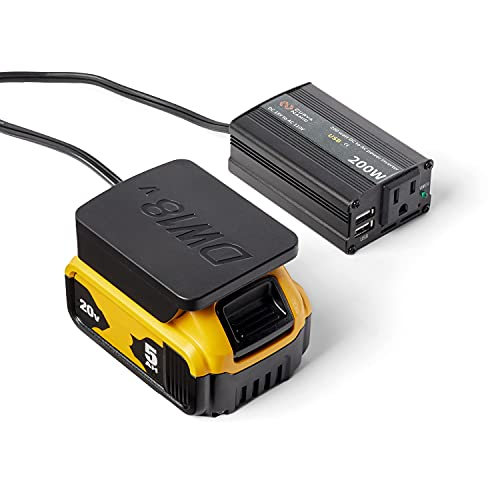 CurvaNamic Power Inverter Outlet Adapter Compatible with DeWalt 18V/20V Battery – 200W DC to 120V AC with Dual USB - 20-Volt Powered Compact Cordless Inverter