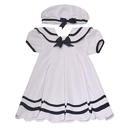 Rare Editions Baby Mädchen Matrosen Kleid inkl. Kappe und Windelhöschen Gr. 62,68,74,80,86 Größe 80