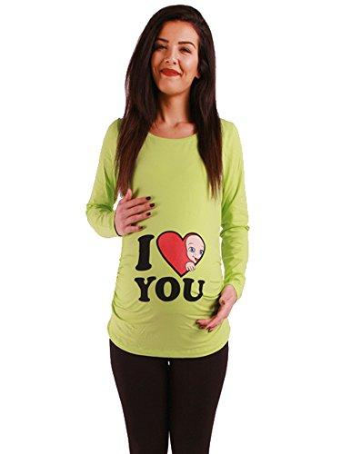 Amor - Camiseta premamá Sudadera con Estampado Durante el Embarazo, Manga Larga (Verde, Medium)