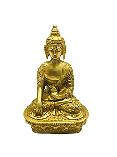 Brass Buddha Statue Gautam Buddha Idol Sculpture, Siddhattha Gotama Buddha Shakyamuni Worship Indoor Home Room Office Meditation Decor Gift Yoga Tibetan Buddhism Amitabha Figurine Size -7 inch