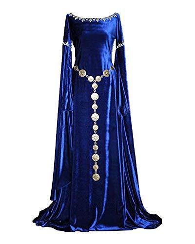 Liangzhu Damen Langarm Mittelalter Kleid Gothic Viktorianischen Königin Kostüm Mit Spitze Und Rundhalskleider Blau L