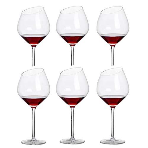 FFFLY Copas De Vino Tinto, Copas Vino Cristal, Juego De 6 Copas De Vino, Cristal Transparente, Tallo Largo, Hogar, Restaurantes Y Fiestas (Size : 600ML -5)