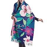 Manta, Bufanda con Flecos, Accesorios de Vestidos, Tapiz, patrón de Fondo de Flores pequeñas Tropicales sin Costuras, Capa de Chal de Poncho con borlas Premium