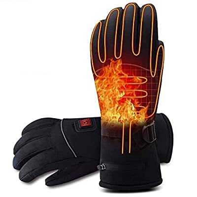 Rabbitroom Electric Battery Heated Gloves for Men&Women 7.4v Rechargeable Battery Powered Gloves Waterproof Thermal Arthritic Gloves Winter Outdoor Sport Mittens (X Large Size)