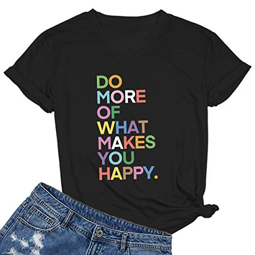 MIMOORN Womens V Neck Fun Happy Graphic Tees Summer Cute Letter Printed T-Shirts Black XX-Large