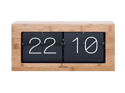 Karlsson KA5642WD Tisch - / Wanduhr XL - Flip Clock - Holz 17,5 x 37 x 9 cm