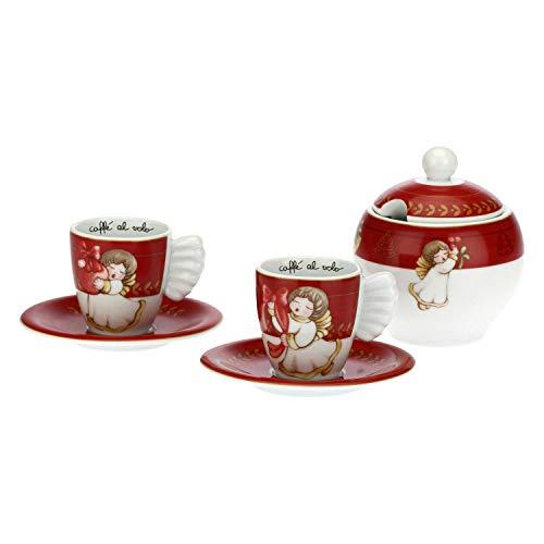 THUN ® - Set 2 tazzine caffè e zuccheriera Dolce Natale