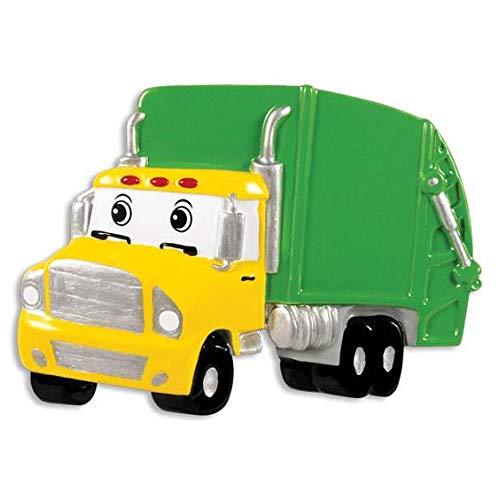 Personalized Garbage Truck Christmas Tree Ornament 2020 - Yellow Green Mighty Toy Machine Eyes 3rd Grade Trash Collector Boy Toddler Monster Pixar Car Colossu XXL Kid Gift Year - Free Customization