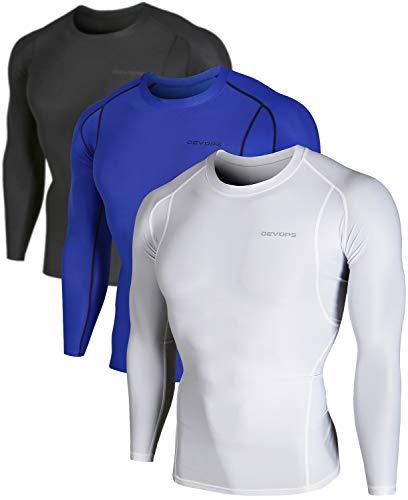 DEVOPS Men's 3 Pack Cool Dry Athletic Compression Long Sleeve Baselayer Workout T-Shirts (2X-Large, Black/Blue/White)