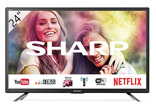 Sharp 24BC1E - Televisor Smart TV de 24' - 24 Pulgadas HD WiFi (resolución 1368 x 720, 2 x HDMI, 2 x USB), Color Negro