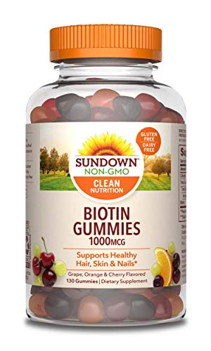 Biotin Gummies by Sundown, Supports Healthy Hair, Skin & Nails, Non-GMOˆ, Free of Gluten, Dairy, Artificial Flavors, 1000 mcg, 130 Gummies