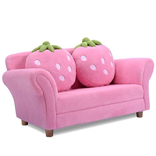 GOPLUS Kindersessel Kindersofa Kindercouch Sofa Doppelsofa Minisofa Kindermöbel zum Sitzen und Spielen, Farbwahl 90 x 54,8 x 48 cm (rosa)
