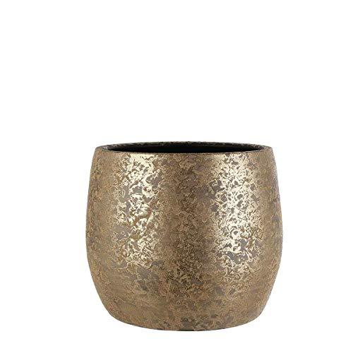 MICA Decorations Blumentopf Clemente rund Gold, H 31 x Ø 38 cm - Innendurchmesser: 29.5 cm -Übertopf - Pflanzkübel