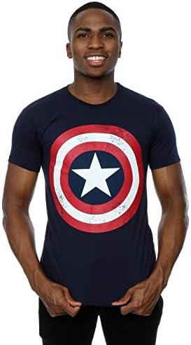 Marvel Hombre Captain America Distressed Shield Camiseta
