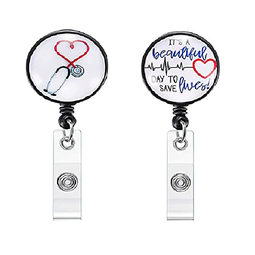 HUIHE Nurse Badge Holder Reel, 3 Pcs Retractable Badge Reels with Alligator Clip, Name / ID Card Holders for Nursing and School Student 24 inch Nylon Cord