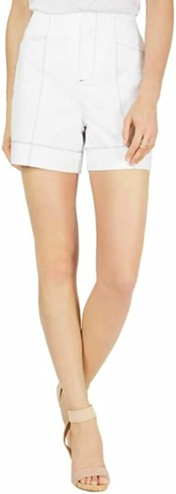 INC International Concepts Contrast-Stitch Shorts (Bright White, 16)