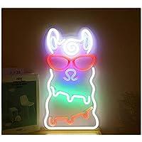 羊驼LED霓虹灯招牌艺术多彩霓虹灯USB小夜灯家庭聚会周年纪念情人节礼物卧室装饰室内墙面装饰