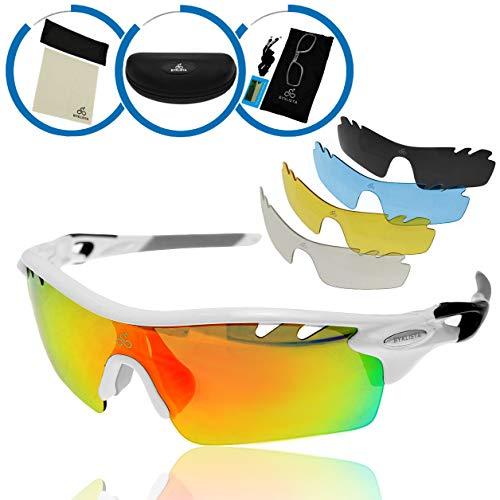 BYKLISTA® Fahrradbrille Sonnenbrille Herren polarisiert + Gratis eBook – Sportbrille, Skibrille, MTB Brille, Rennrad Brille, Sportsonnenbrille mit UV400, 5 Wechselgläser, unzerbrechlichem Rahmen