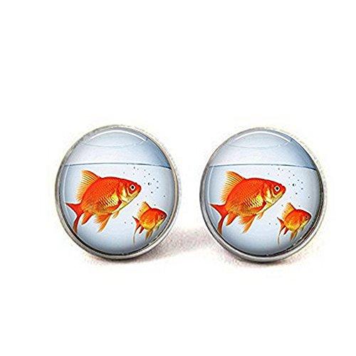 nijiahx Fischglas-Ohrringe Gold Fisch Aquarium Goldfisch Ohrringe Schlüsselanhänger