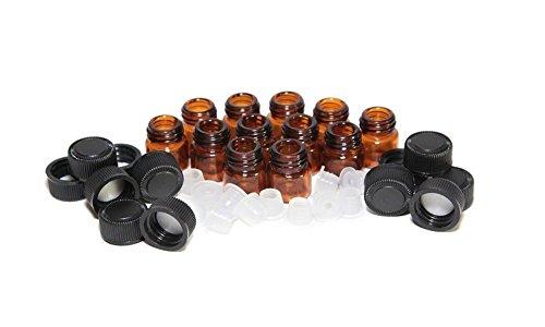 Lot de 24 flacons vides rechargeables en verre ambré avec bouchon noir et réducteur d'orifice pour voyage 1 ml