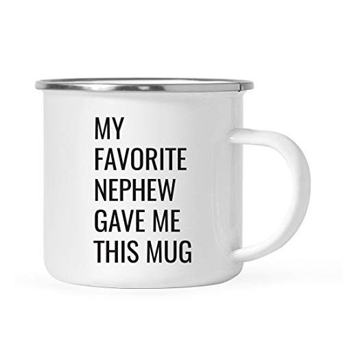Andaz Press 11oz. Stainless Steel Funny Campfire Coffee Mug Gag Gift, My Favorite Nephew Gave Me This Mug, 1-Pack, Aunt Uncle Birthday Christmas Sarcastic Humor Metal Camping Cup Gift Ideas