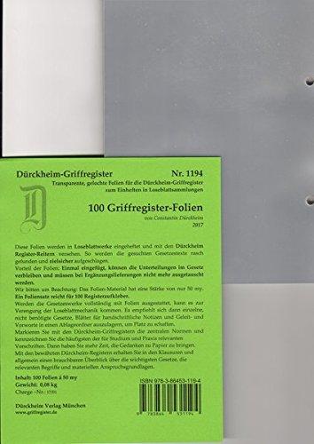 100 DürckheimRegister-FOLIEN für STEUERGESETZE, SCHÖNFELDER u.a; zum Einheften und Unterteilen der roten Gesetzessammlungen: 100 transparente FOLIEN ... H. Beck zum Einheften der DürckheimRegister