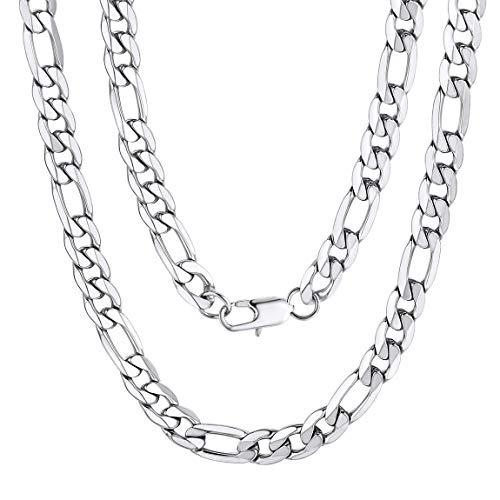 ChainsPro Italien Figarokette 9mm Breit in Edelstahl Silber Halsketten ohne Anhänger Herren 51 cm Lang